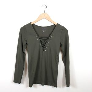 Skylee Collection Cross String Top